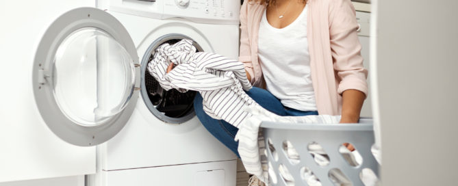 clothes dryer in laundry room